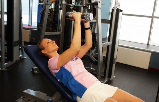 Упражнения на грудные мышцы на горизонтальной скамье с гантелями на 30 градусов вверх